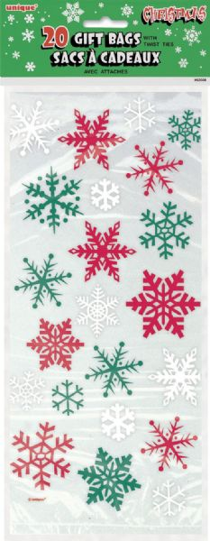 Snowflake Red & Green Cellophane Bags (20)